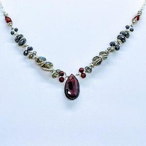 Garnet labradorite hematite & sterling silver neck
